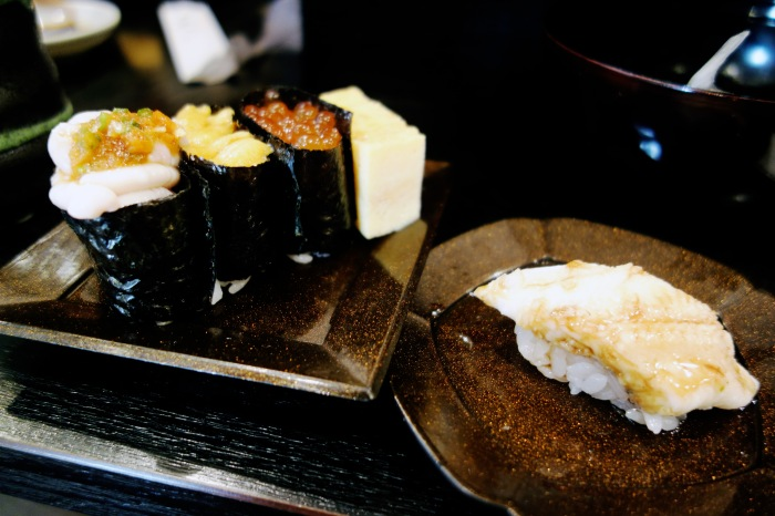 The semen sushi is the leftmost sushi in this photo.